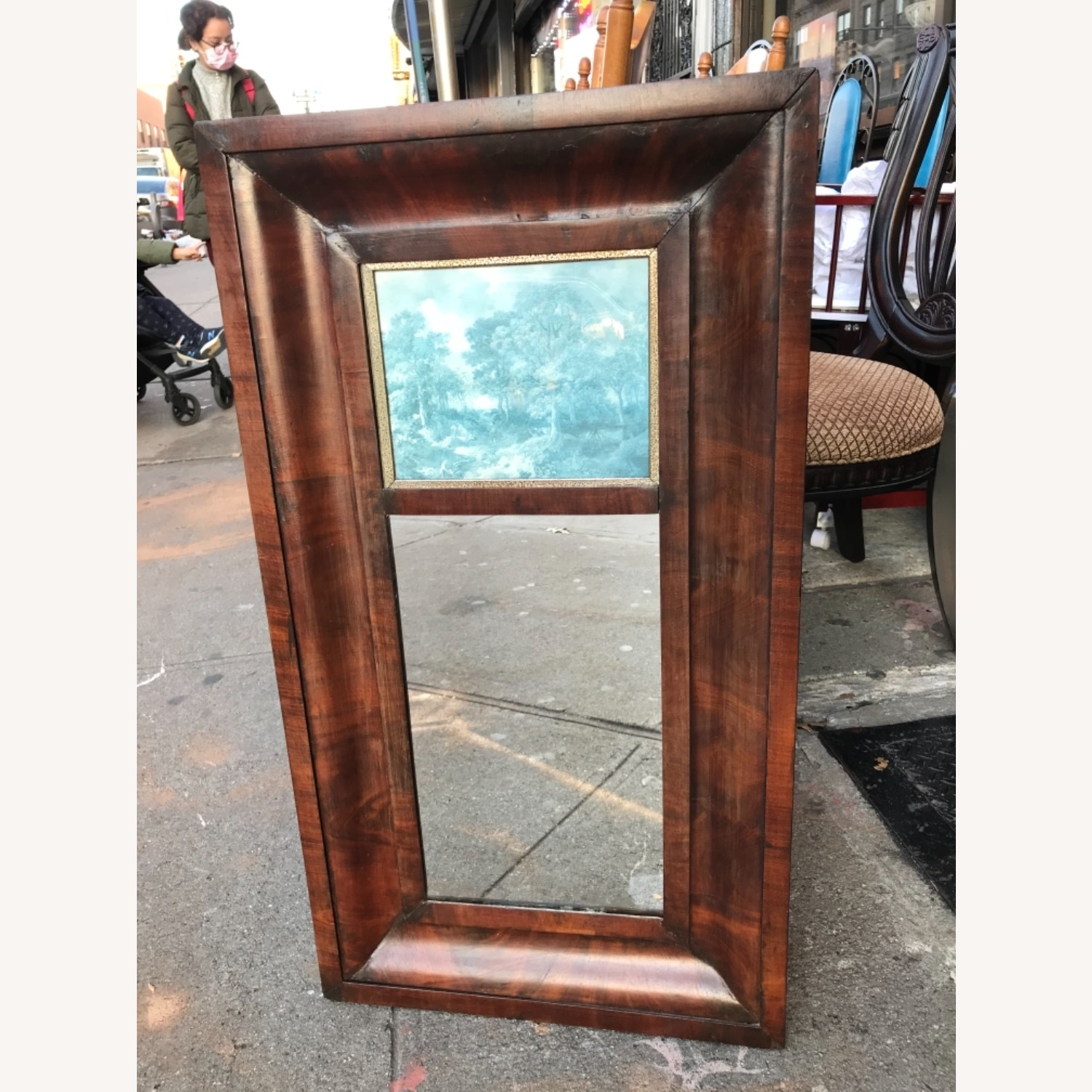 Antique 1900s Mahogany Framed Mirror w/ Picture - image-1