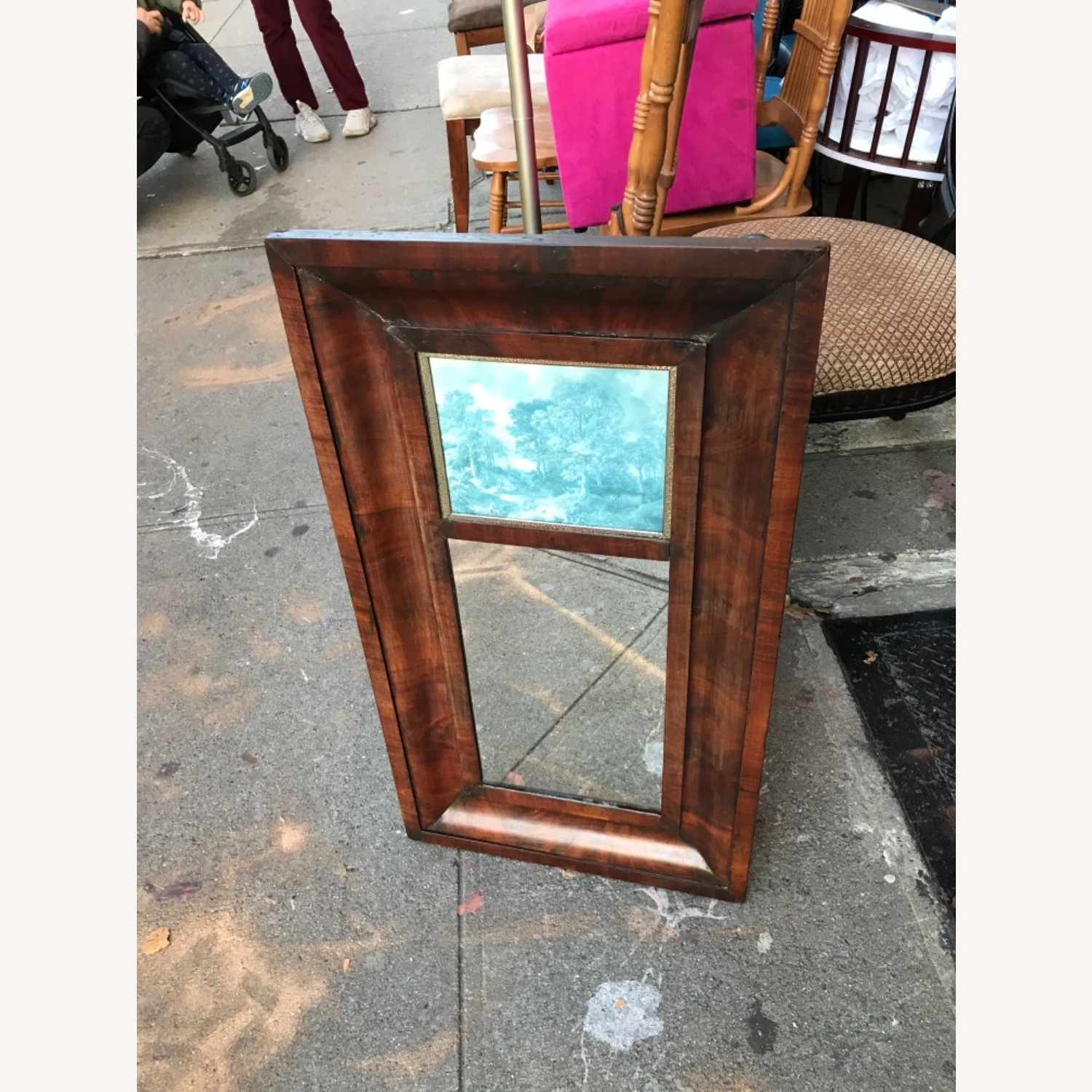 Antique 1900s Mahogany Framed Mirror w/ Picture - image-6