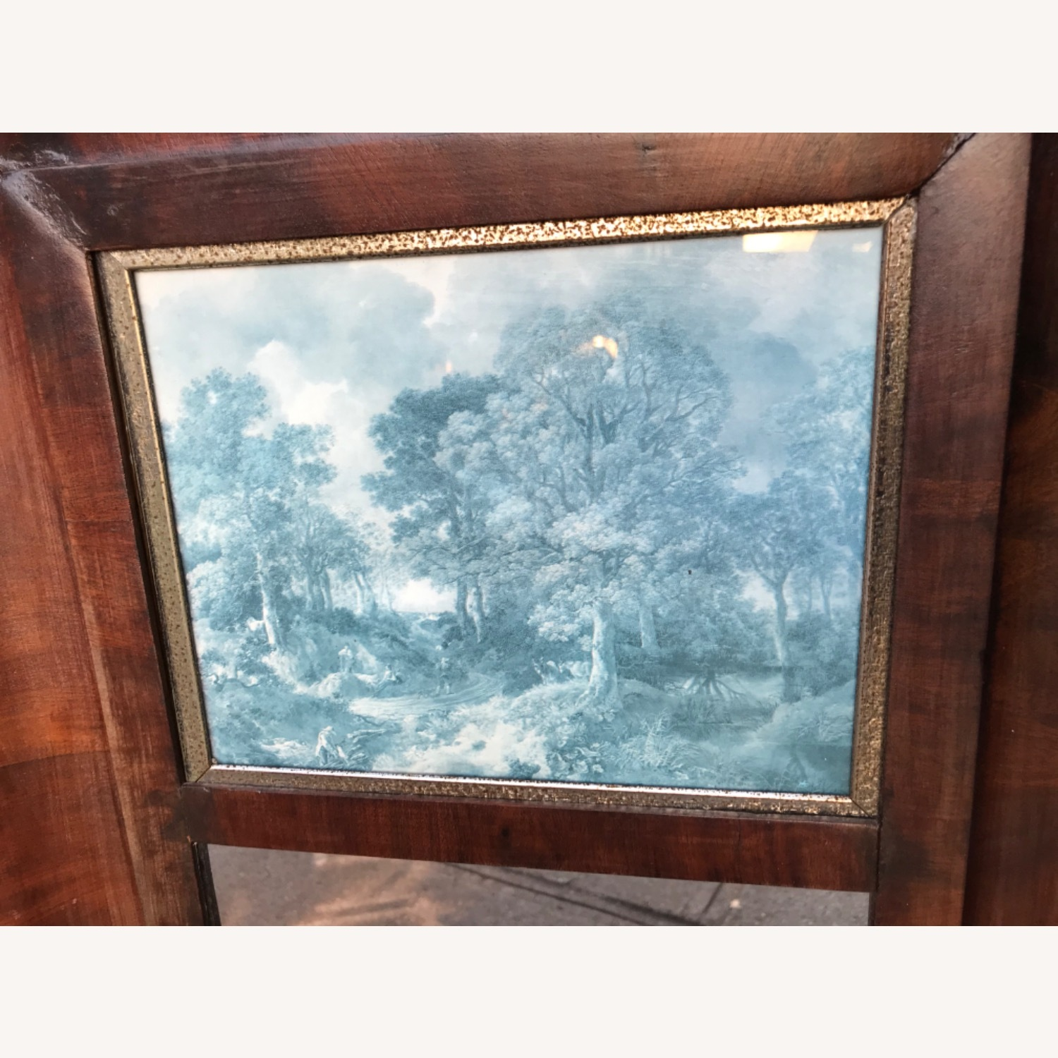 Antique 1900s Mahogany Framed Mirror w/ Picture - image-8