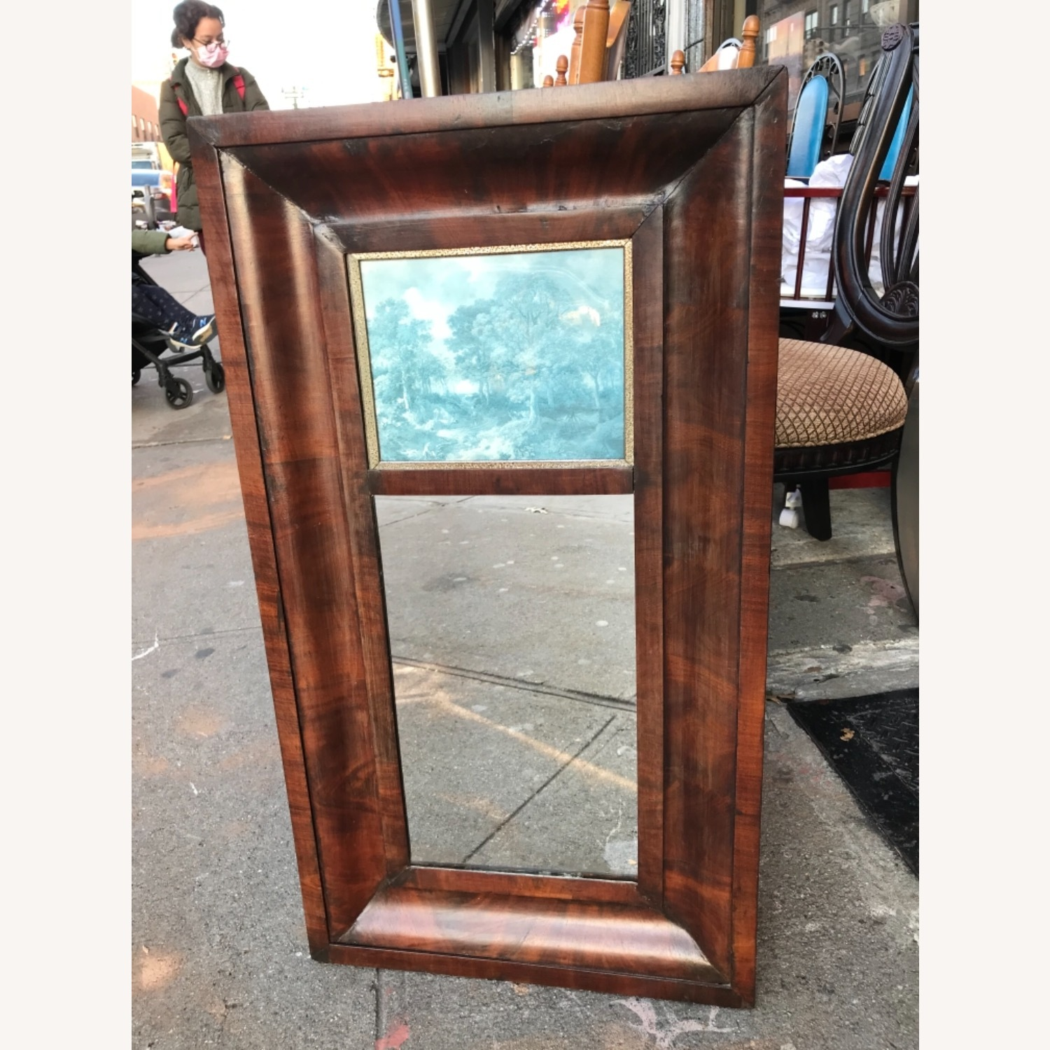 Antique 1900s Mahogany Framed Mirror w/ Picture - image-2