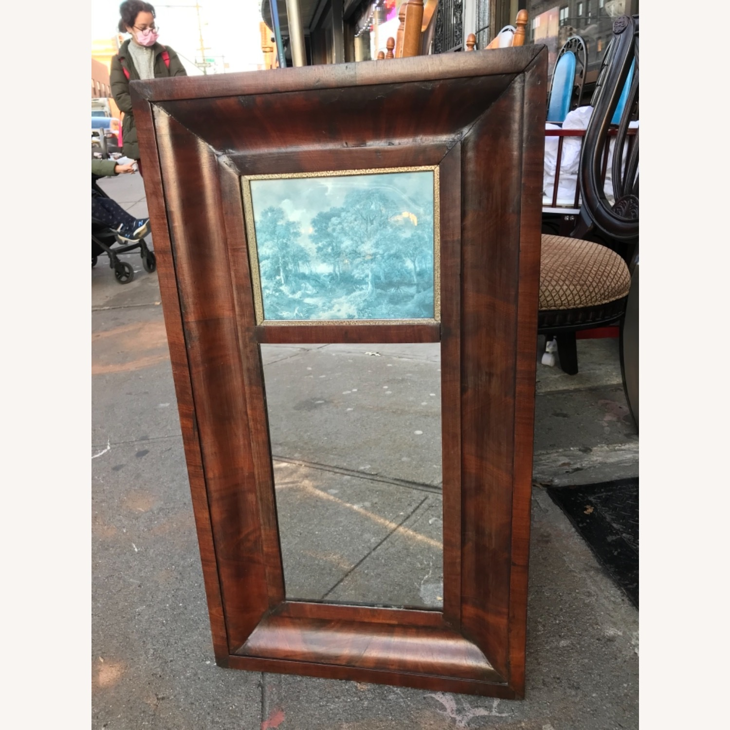 Antique 1900s Mahogany Framed Mirror w/ Picture - image-3