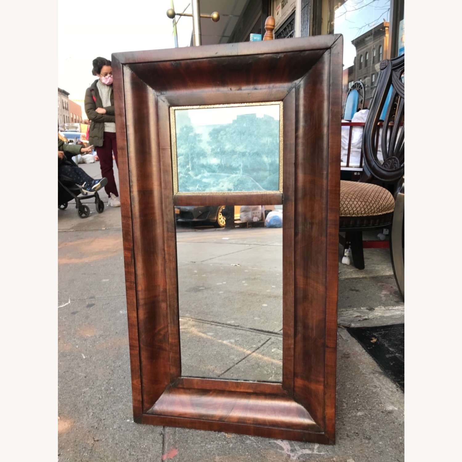 Antique 1900s Mahogany Framed Mirror w/ Picture - image-4
