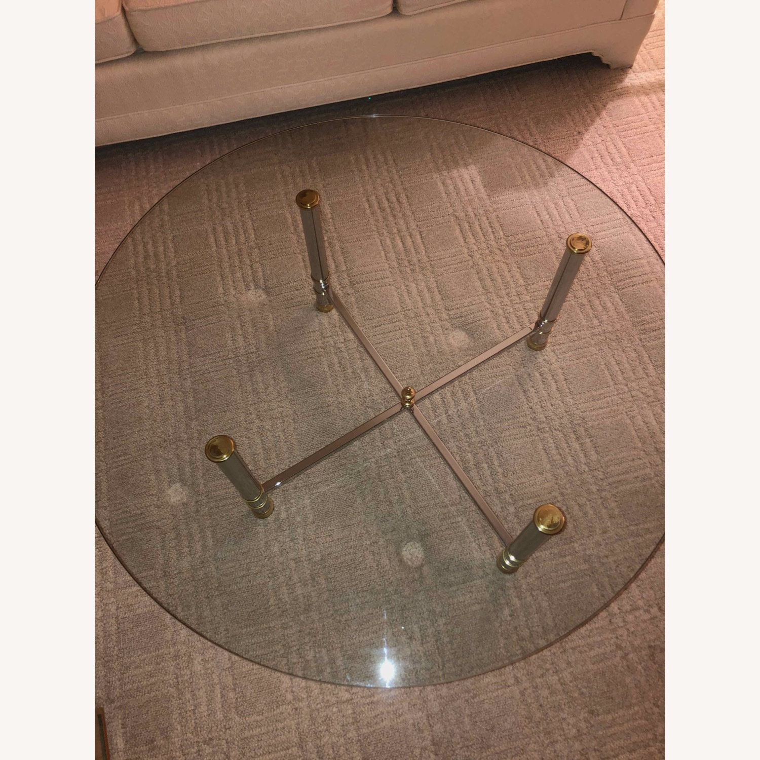 Taylor Made Custom Coffee Table with Brass and Chrome Base - image-2