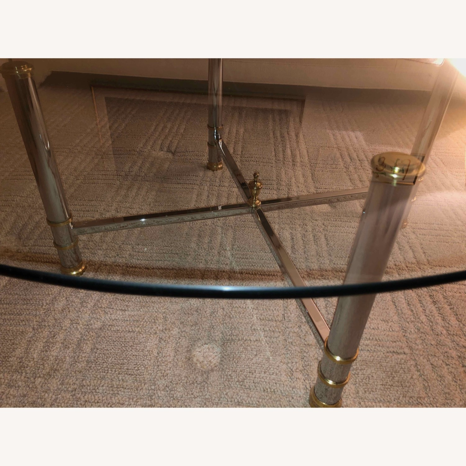 Taylor Made Custom Coffee Table with Brass and Chrome Base - image-4