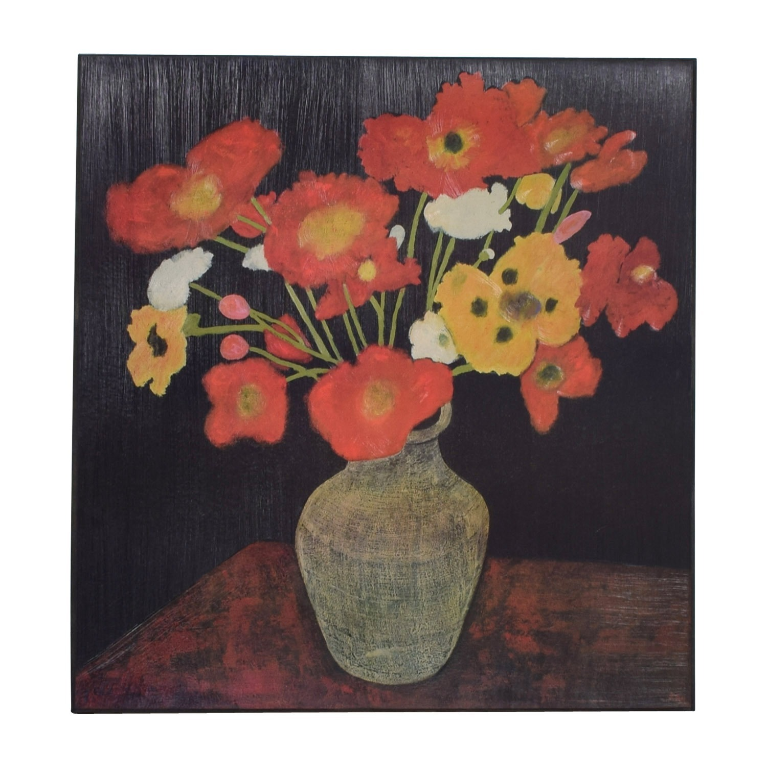 Crate & Barrel Jean Poppies Painting - image-1