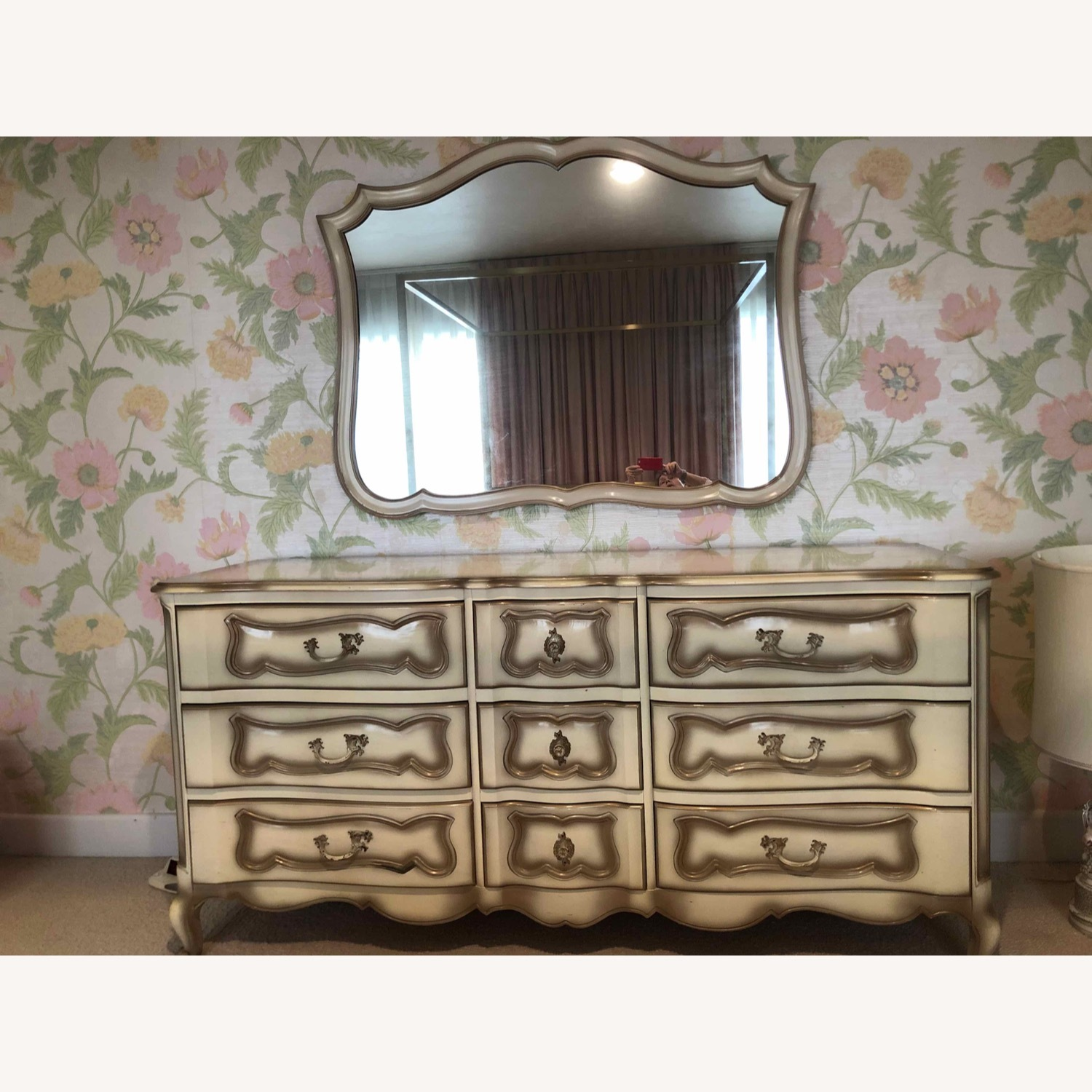 French Provincial Dresser and Matching Mirror - image-1
