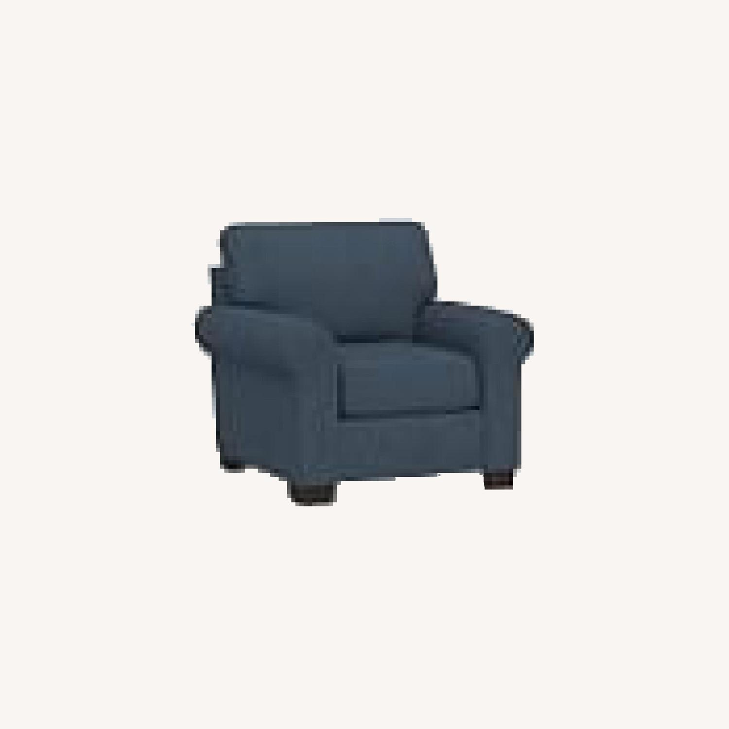 Pottery Barn Buchanan Arm Chair Navy Blue Twill - image-0