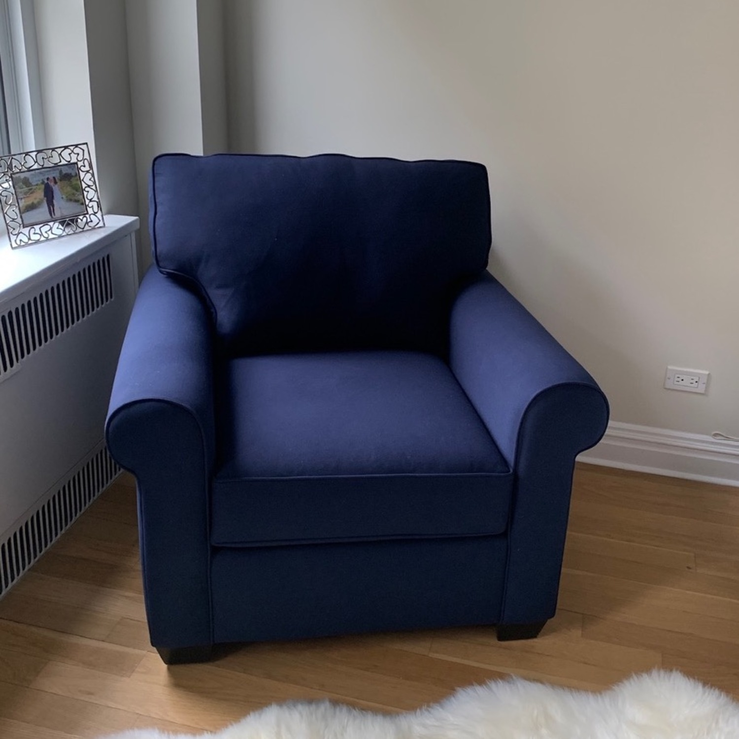 Pottery Barn Buchanan Arm Chair Navy Blue Twill - image-1