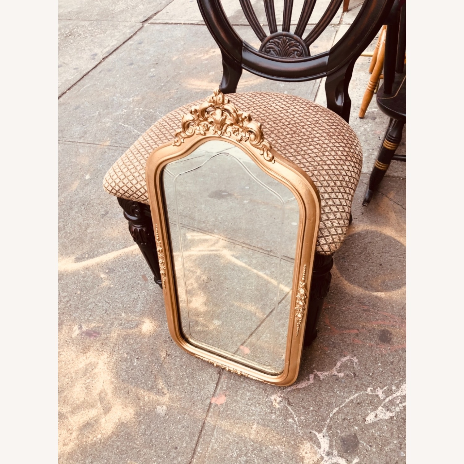 Antique 1920s Gold Painted Engraved Wall Mirror - image-7