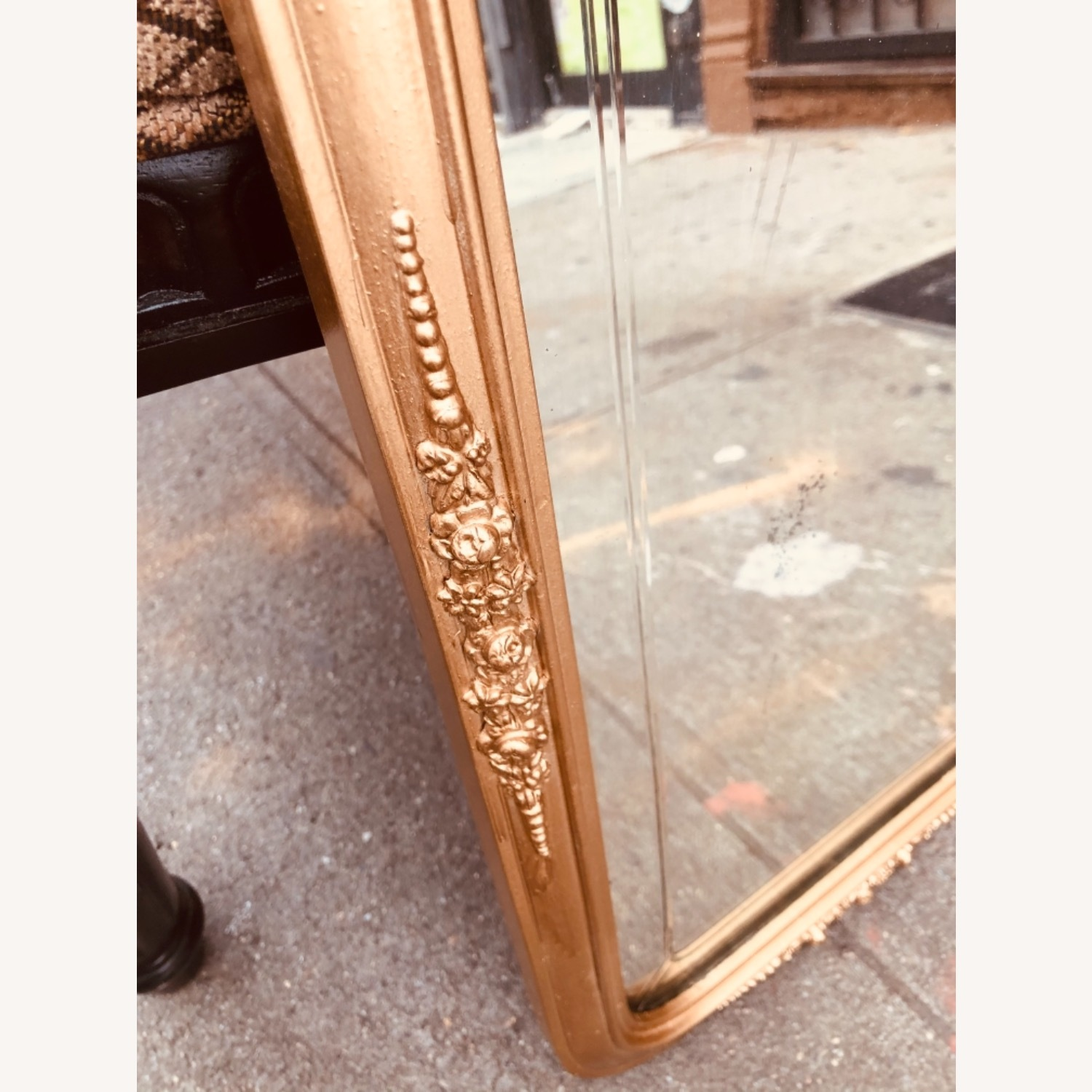 Antique 1920s Gold Painted Engraved Wall Mirror - image-6