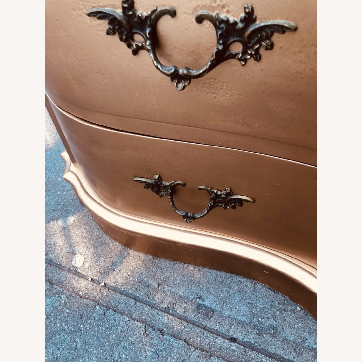 Antique 1920s Gold Painted Cherry Wood Nightstand - image-17