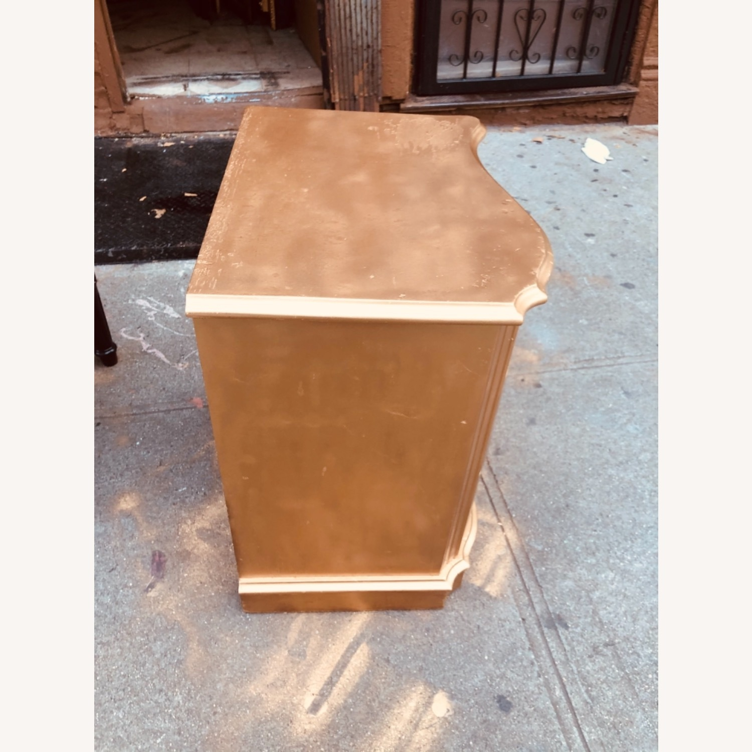 Antique 1920s Gold Painted Cherry Wood Nightstand - image-4