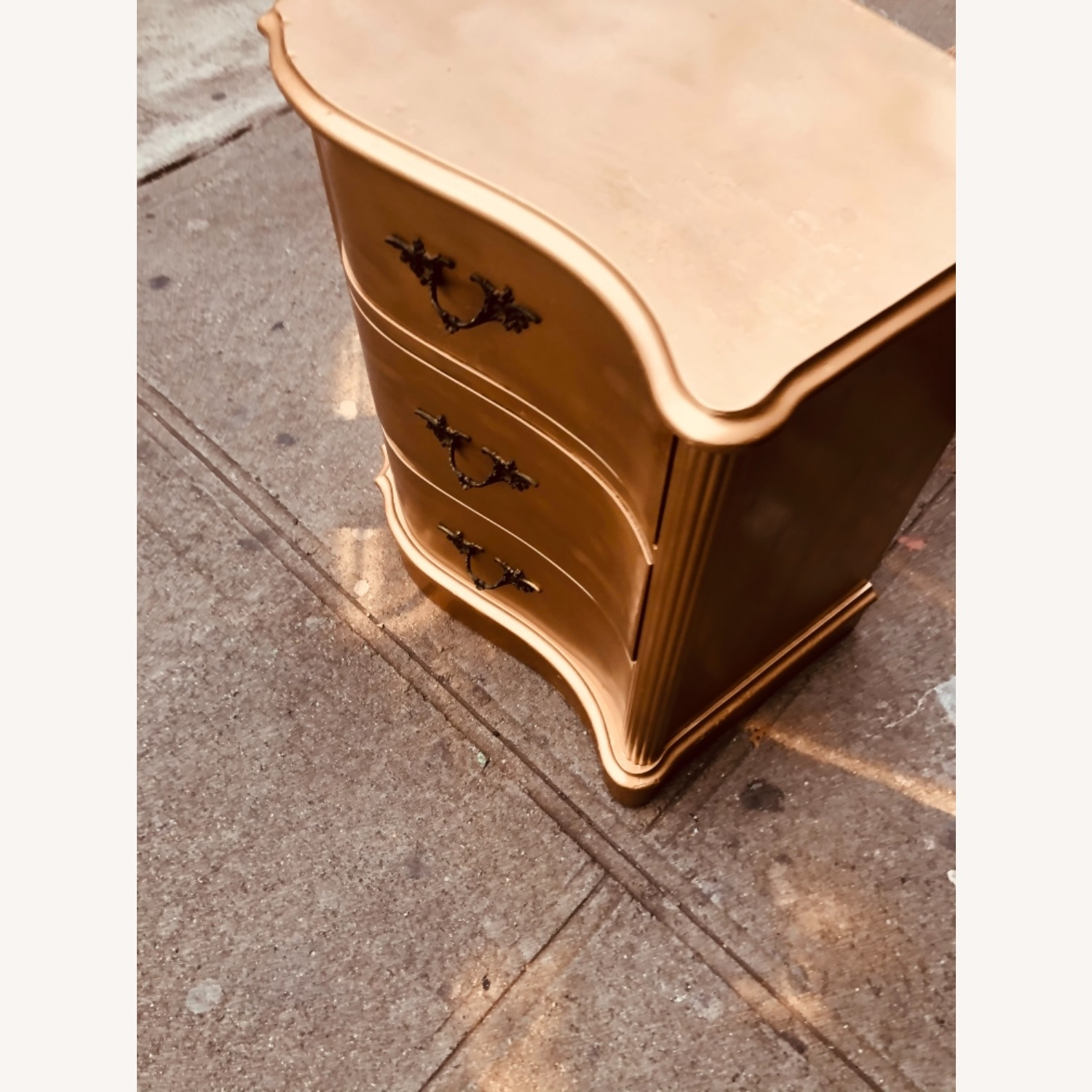 Antique 1920s Gold Painted Cherry Wood Nightstand - image-6
