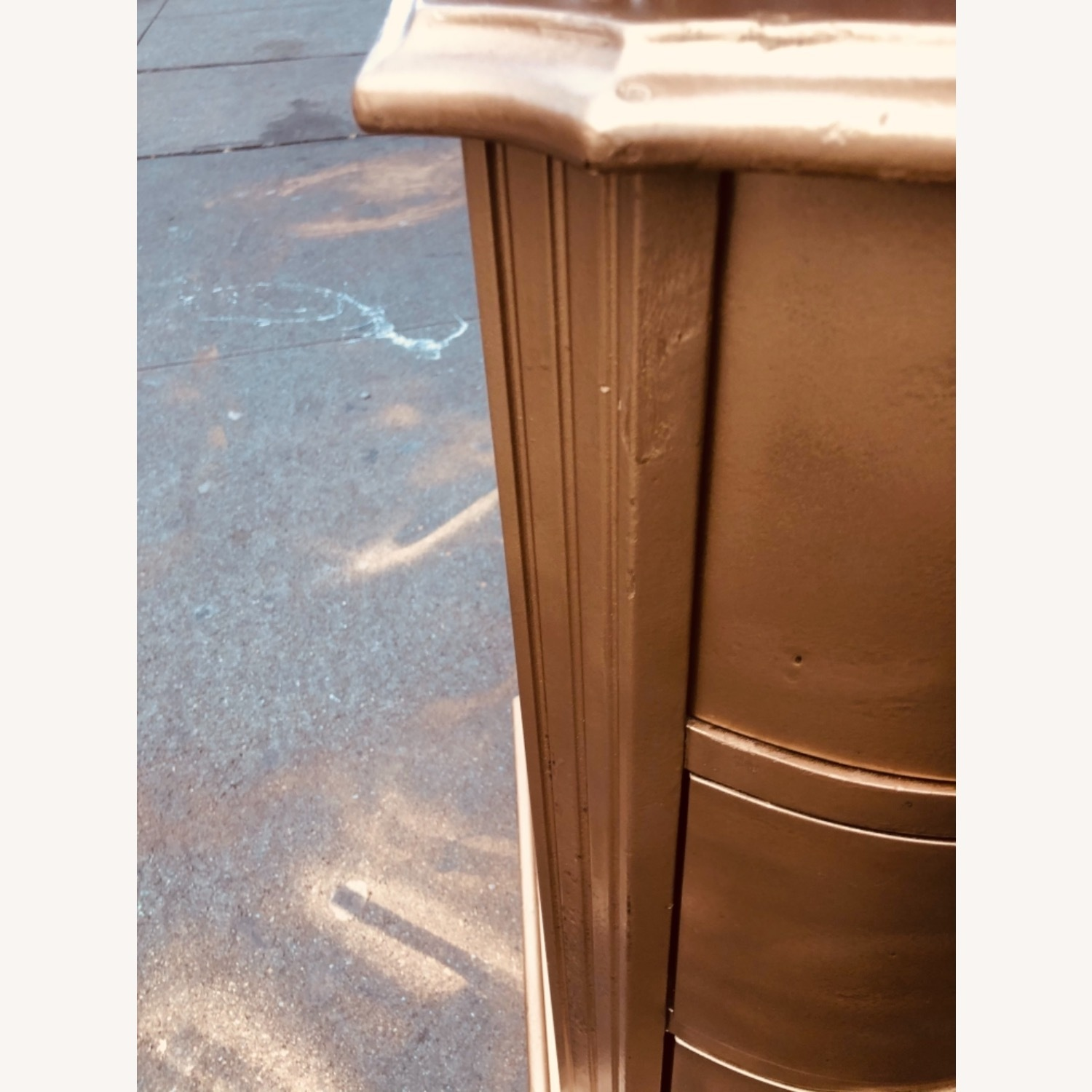 Antique 1920s Gold Painted Cherry Wood Nightstand - image-10