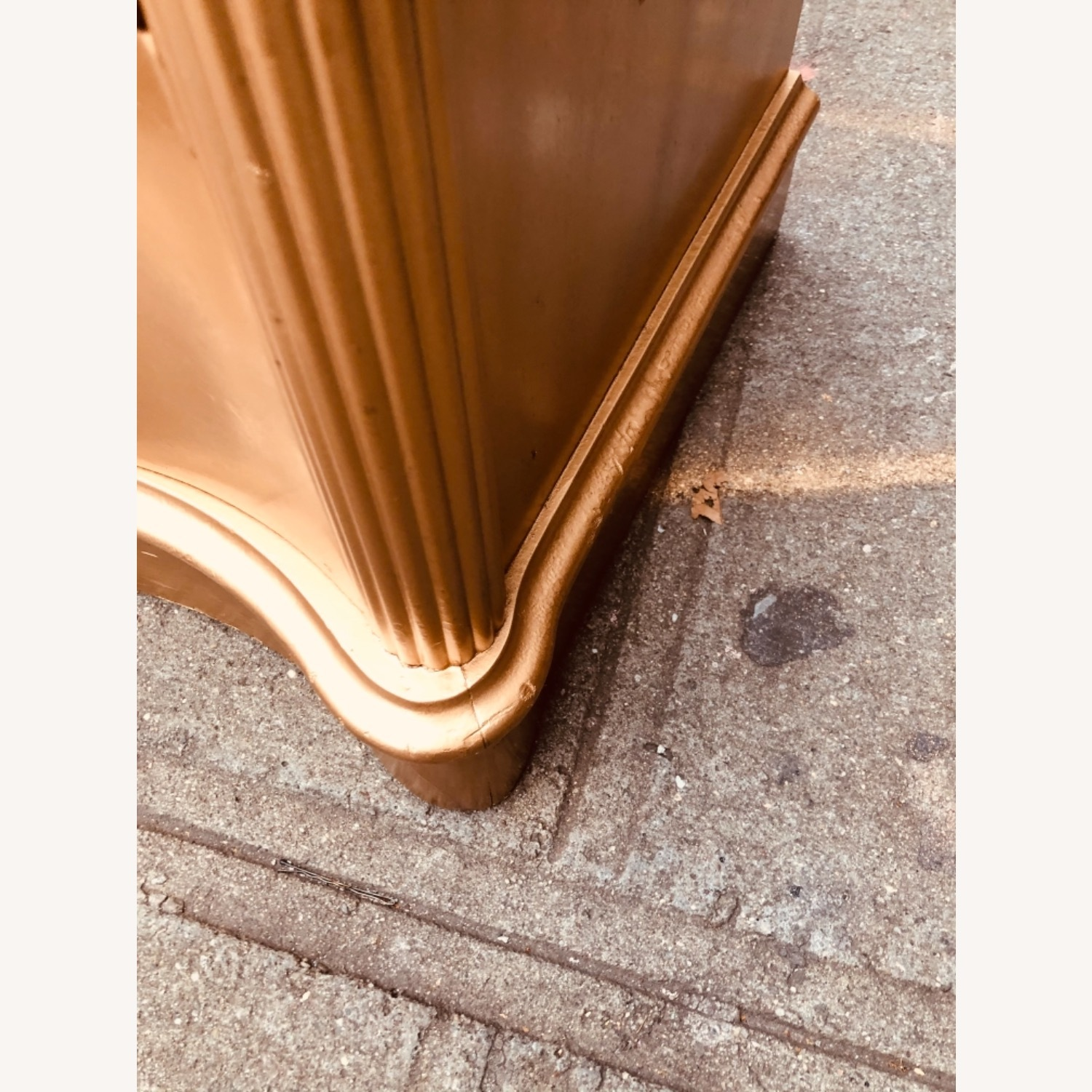 Antique 1920s Gold Painted Cherry Wood Nightstand - image-11