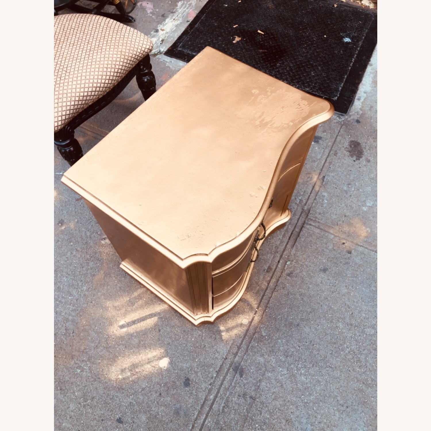 Antique 1920s Gold Painted Cherry Wood Nightstand - image-5