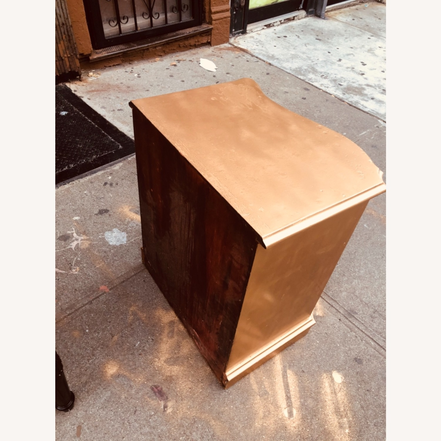 Antique 1920s Gold Painted Cherry Wood Nightstand - image-7