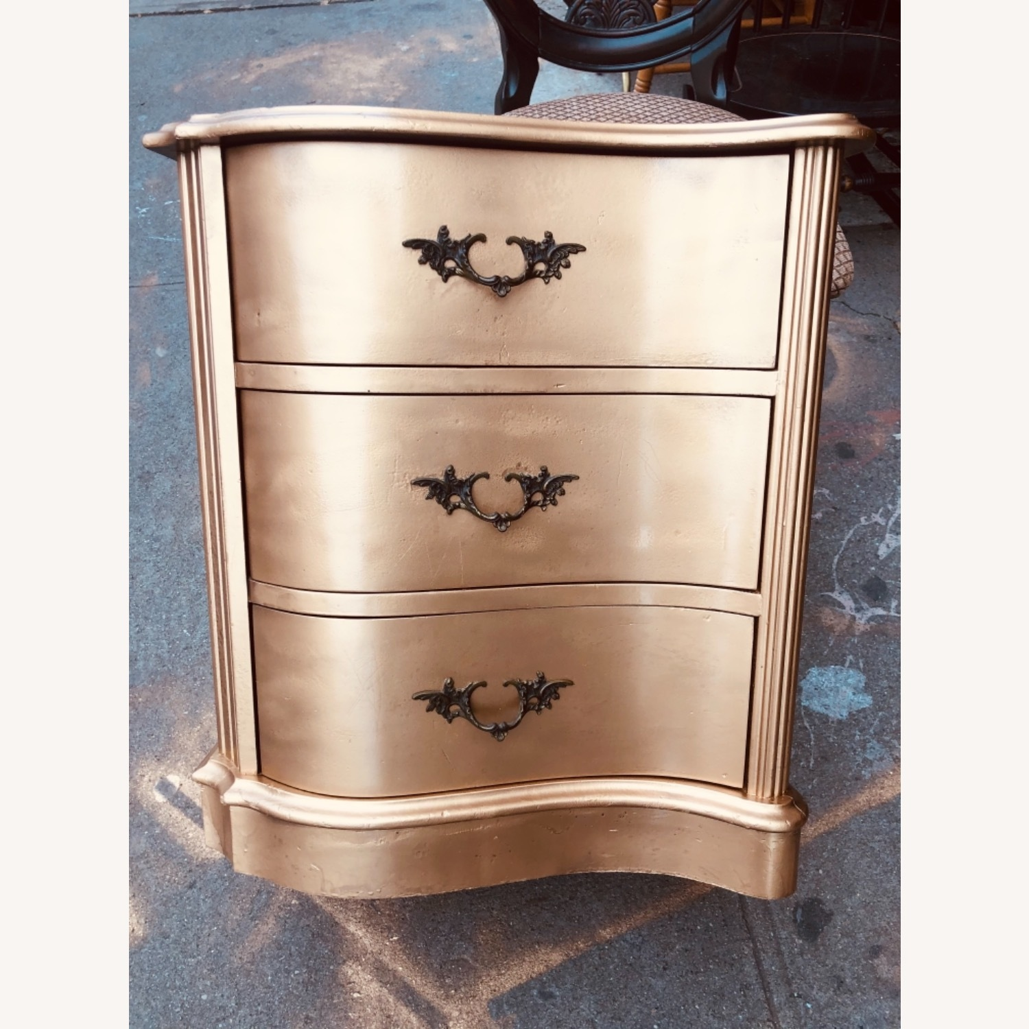 Antique 1920s Gold Painted Cherry Wood Nightstand - image-2