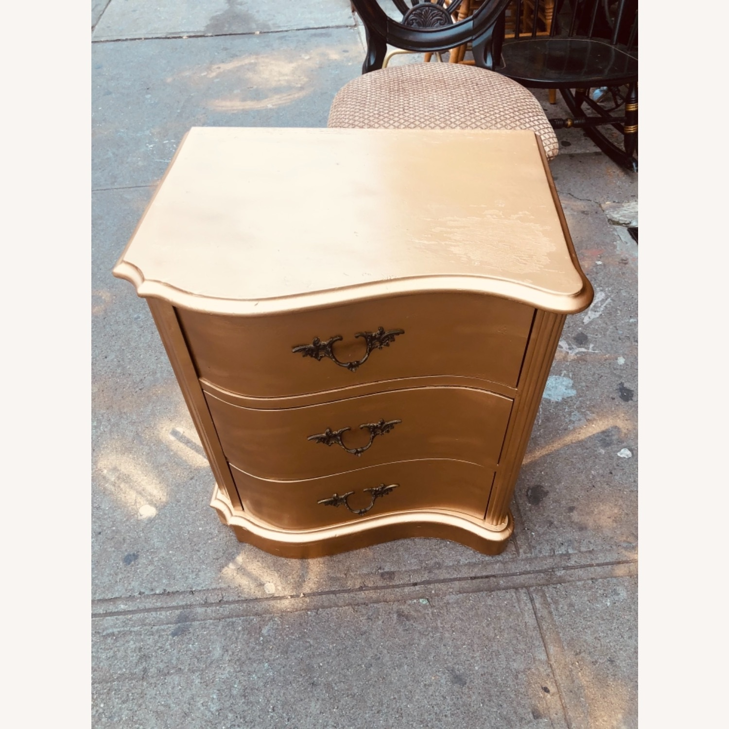 Antique 1920s Gold Painted Cherry Wood Nightstand - image-3