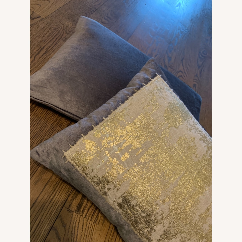 Michael Adam Distressed Metallic Lace 2 Pillows - image-7