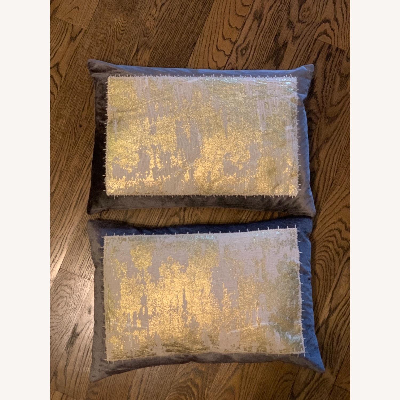 Michael Adam Distressed Metallic Lace 2 Pillows - image-3