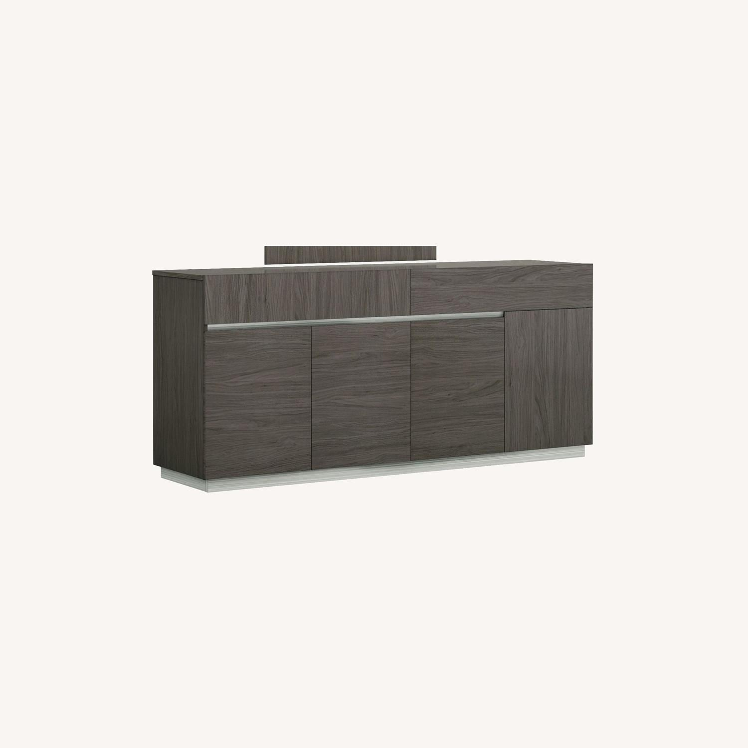Modern Buffet In Grey Lacquer W/ Taupe Accents - image-4
