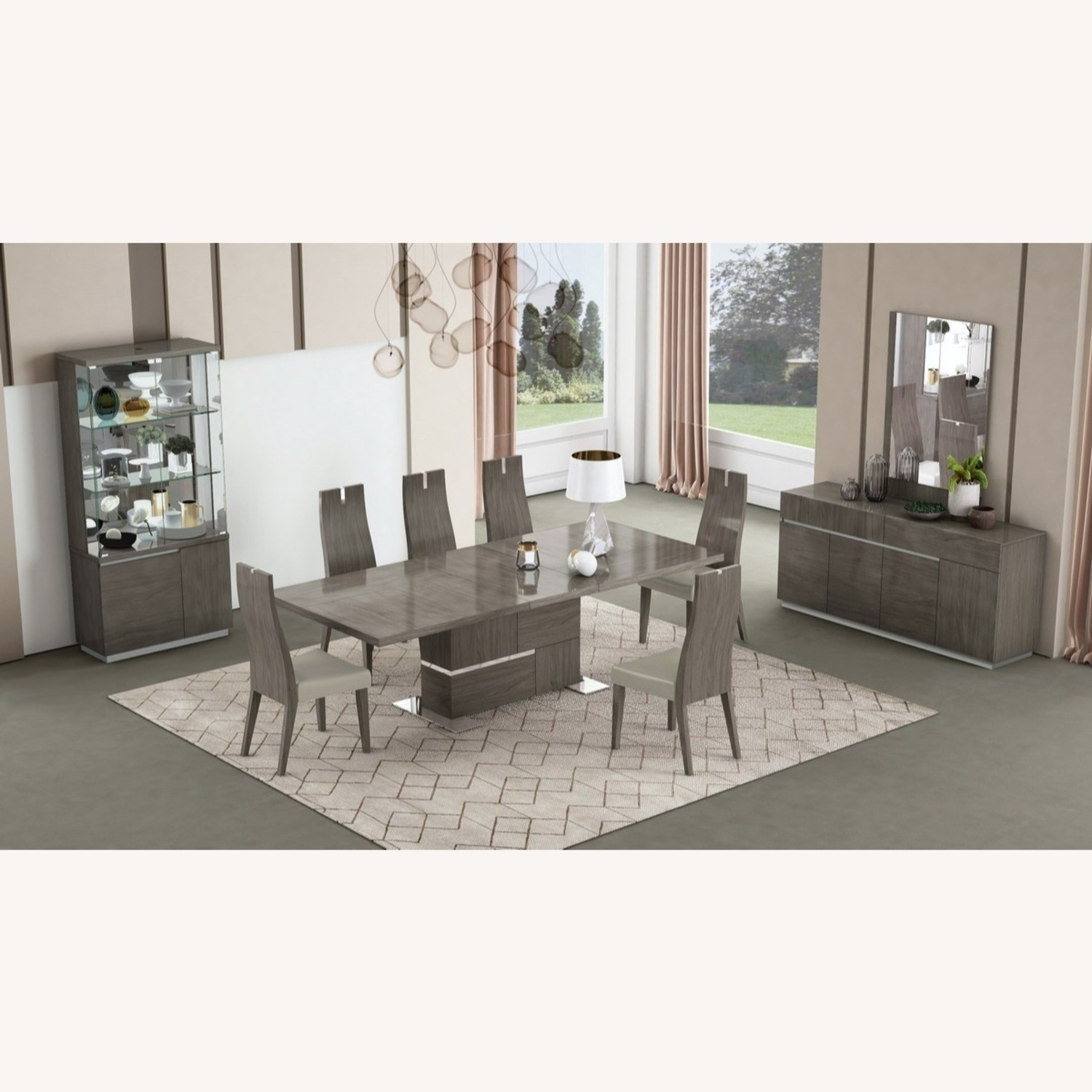 Modern Buffet In Grey Lacquer W/ Taupe Accents - image-2
