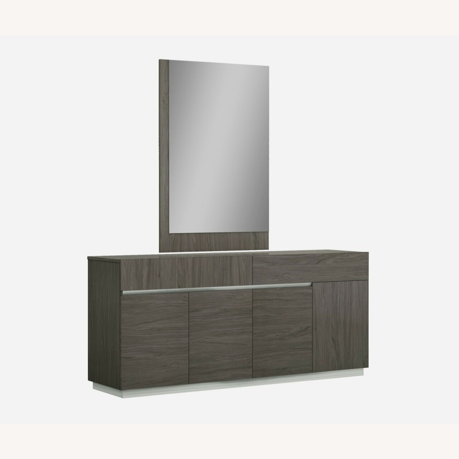 Modern Buffet In Grey Lacquer W/ Taupe Accents - image-1
