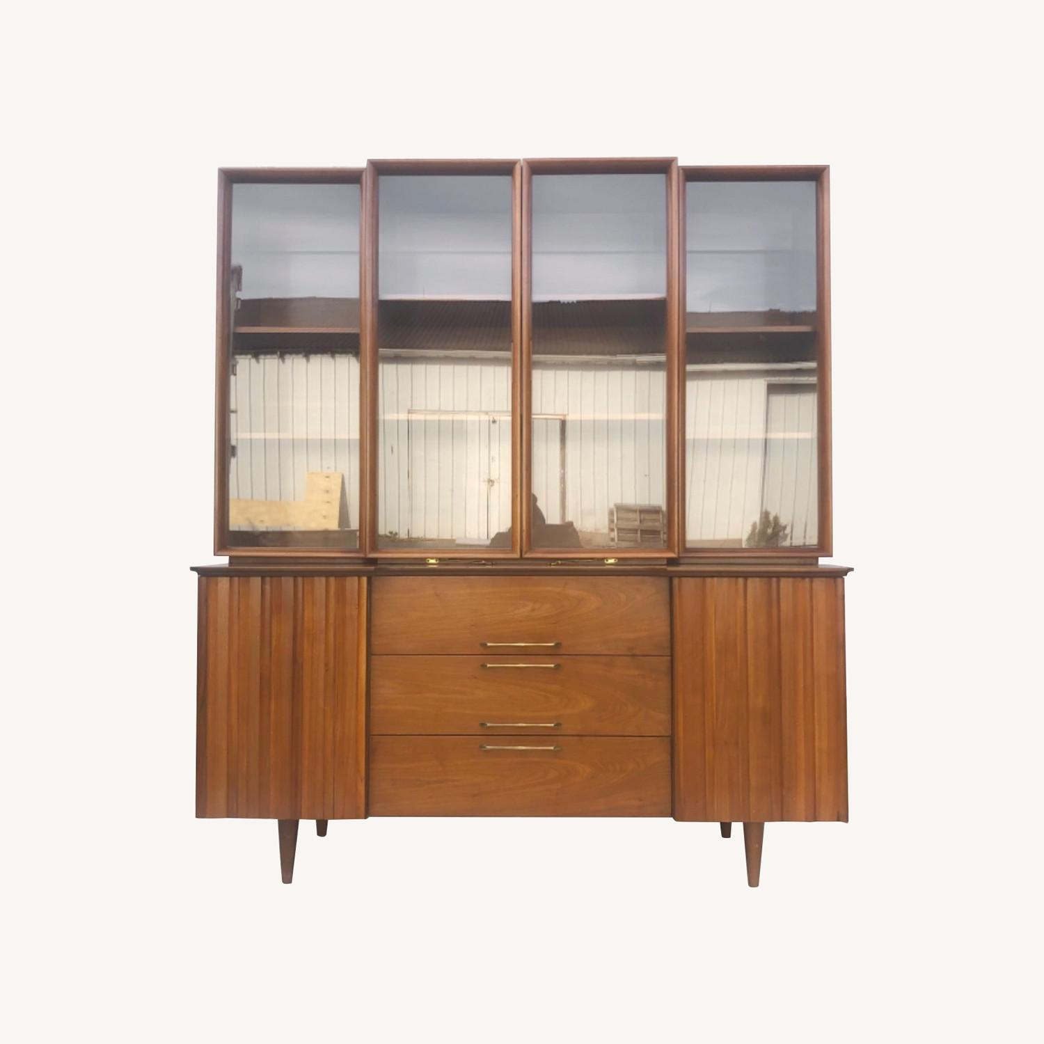 Mid-Century Modern Sideboard With Display Topper - image-0