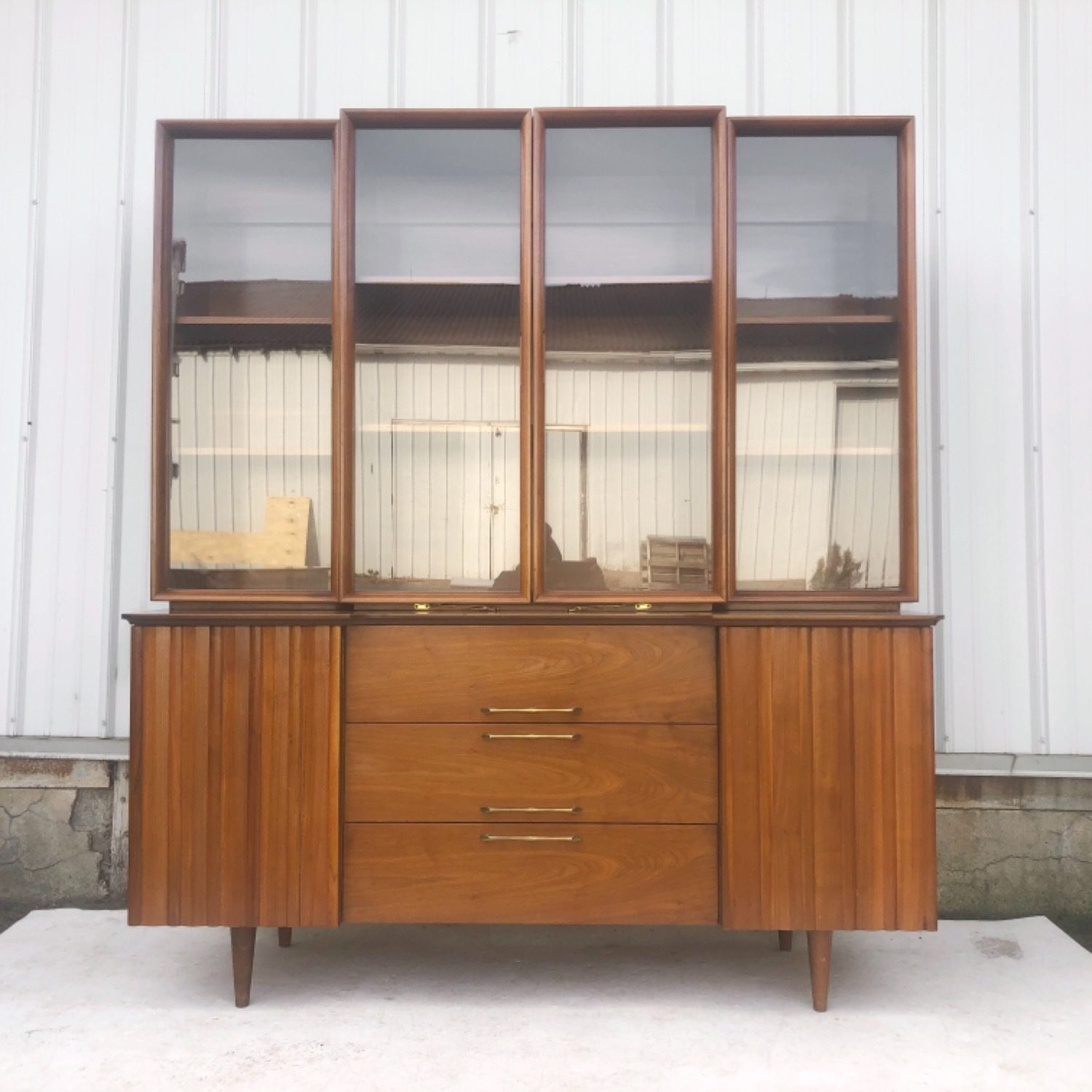 Mid-Century Modern Sideboard With Display Topper - image-1