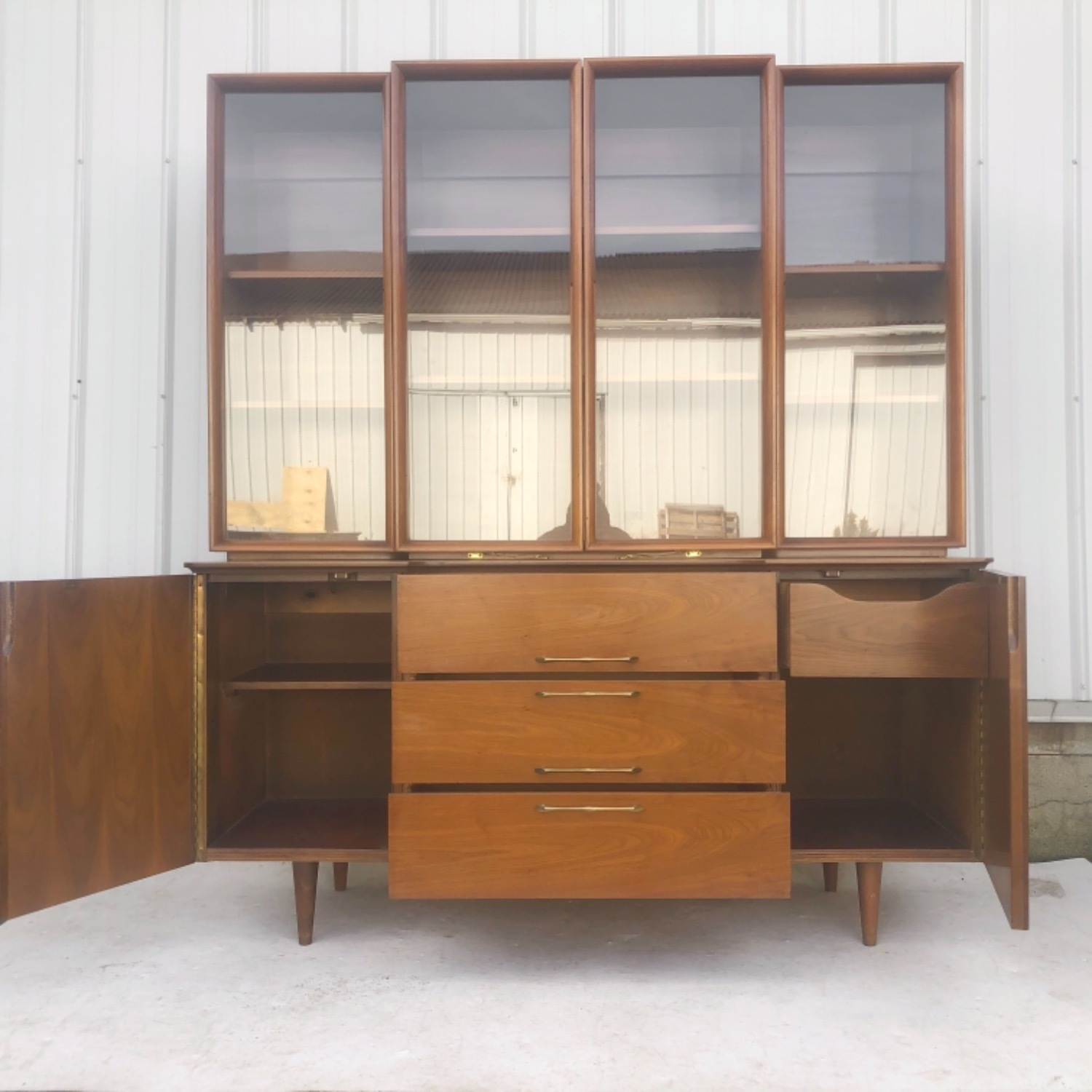 Mid-Century Modern Sideboard With Display Topper - image-2