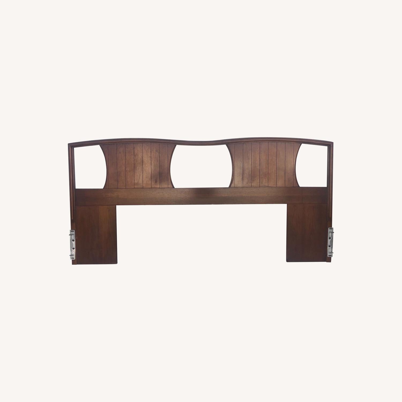Mid-Century Modern Walnut Headboard- King - image-0