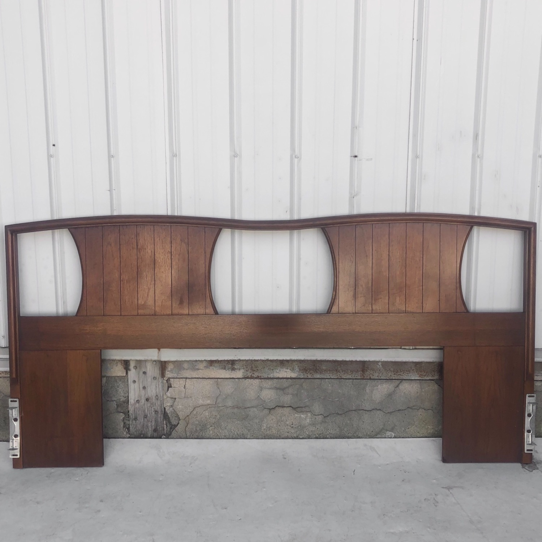 Mid-Century Modern Walnut Headboard- King - image-1