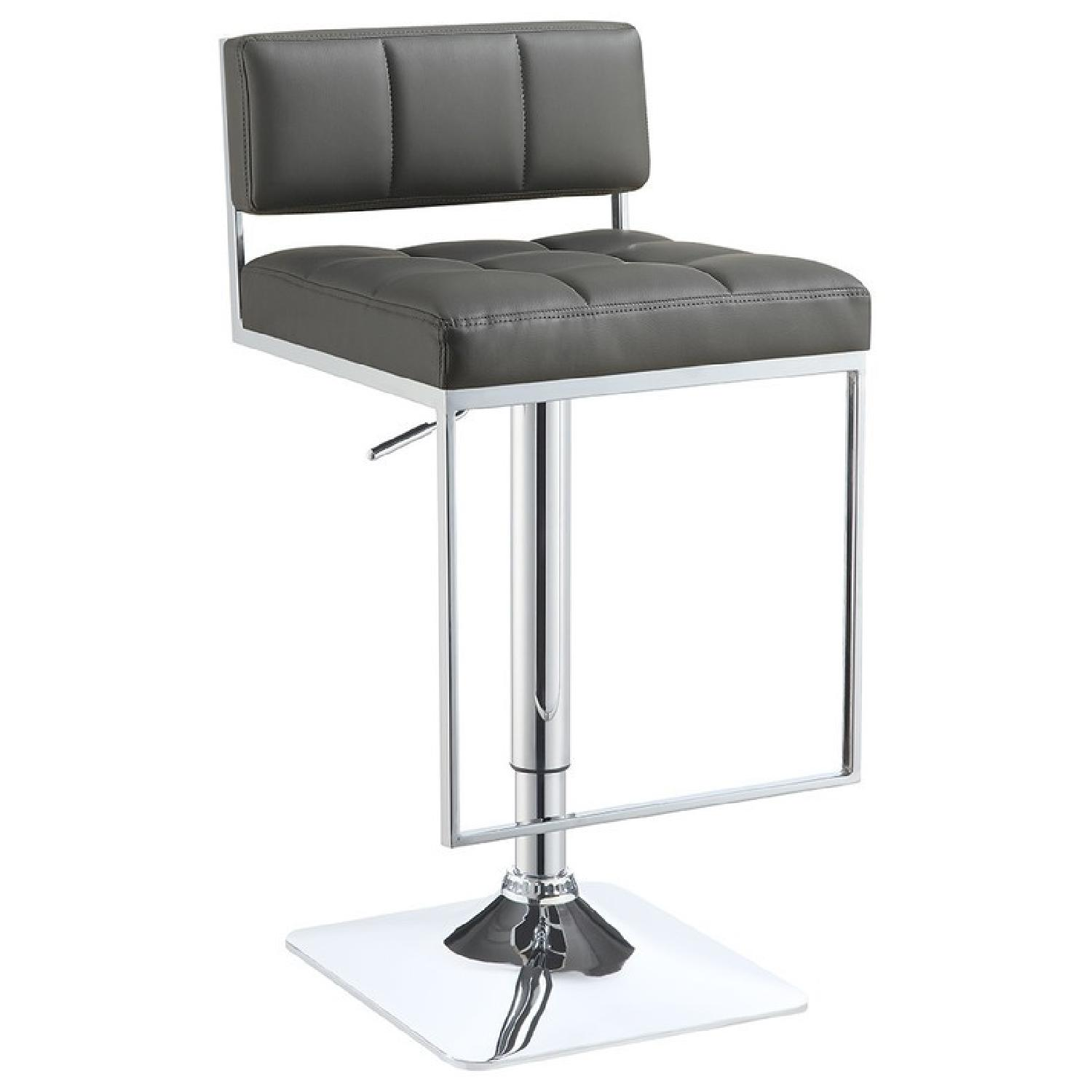 Modern Style Barstool w/ Tufted Cushions in Grey Faux Leather & Chrome Base/Leg Rest