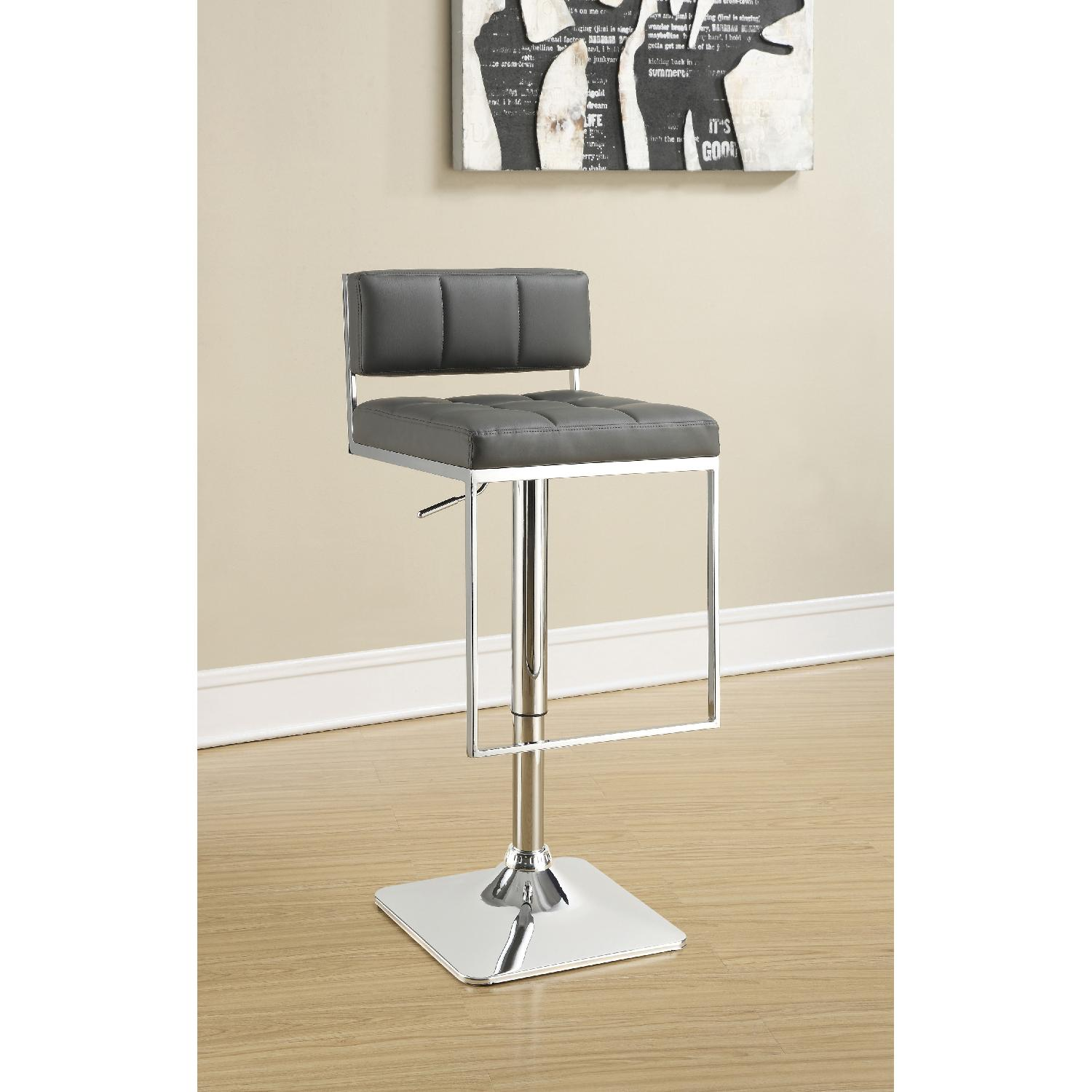 Excellent Modern Style Barstool W Tufted Cushions In Grey Faux Caraccident5 Cool Chair Designs And Ideas Caraccident5Info