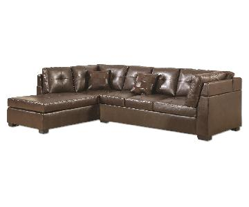 Modern Sectional In Brown Bonded Leather w/ High-Resiliency Foam