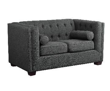 Modern Loveseat w/ Tufted Back & Lumbar Pillows in Charcoal Color Fabric