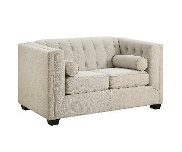 Modern Loveseat w/ Tufted Back & Lumbar Pillows in Oak Meal Color Fabric