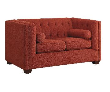 Modern Loveseat w/ Tufted Back & Lumbar Pillows in Crimson Color Fabric