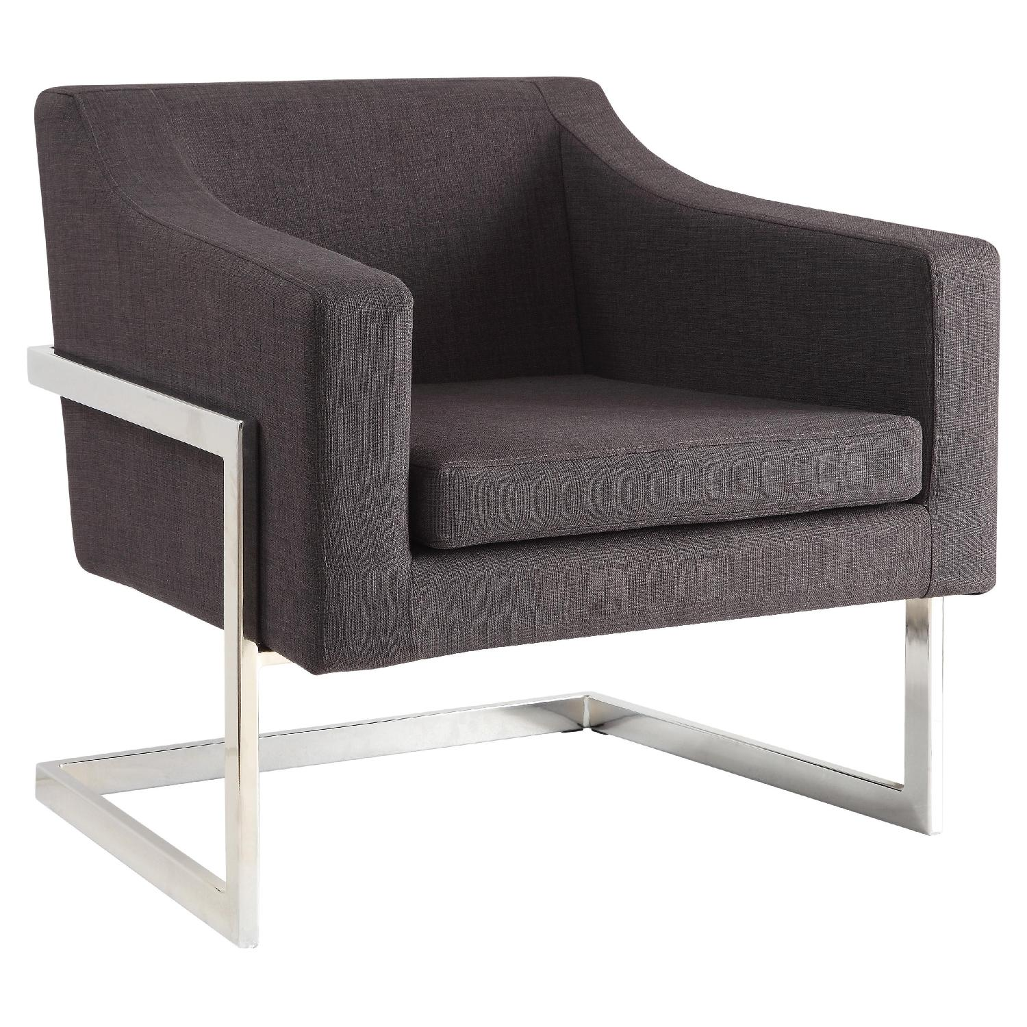 Contemporary Accent Chair in Dark Grey Fabric w/ Exposed Metal Frame