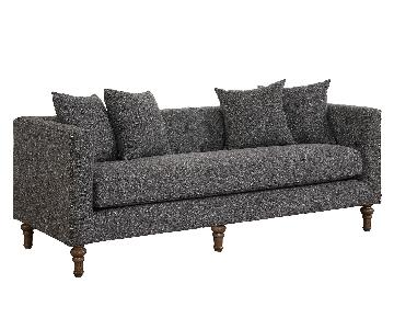 Modern Tufted Back Sofa w/ Feather Blend Topped Cushion & Nailhead Accent in Grey Fabric + 4 Accent Pillows