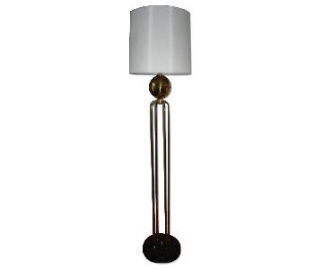 Polished Brass Art Deco Floor Lamp