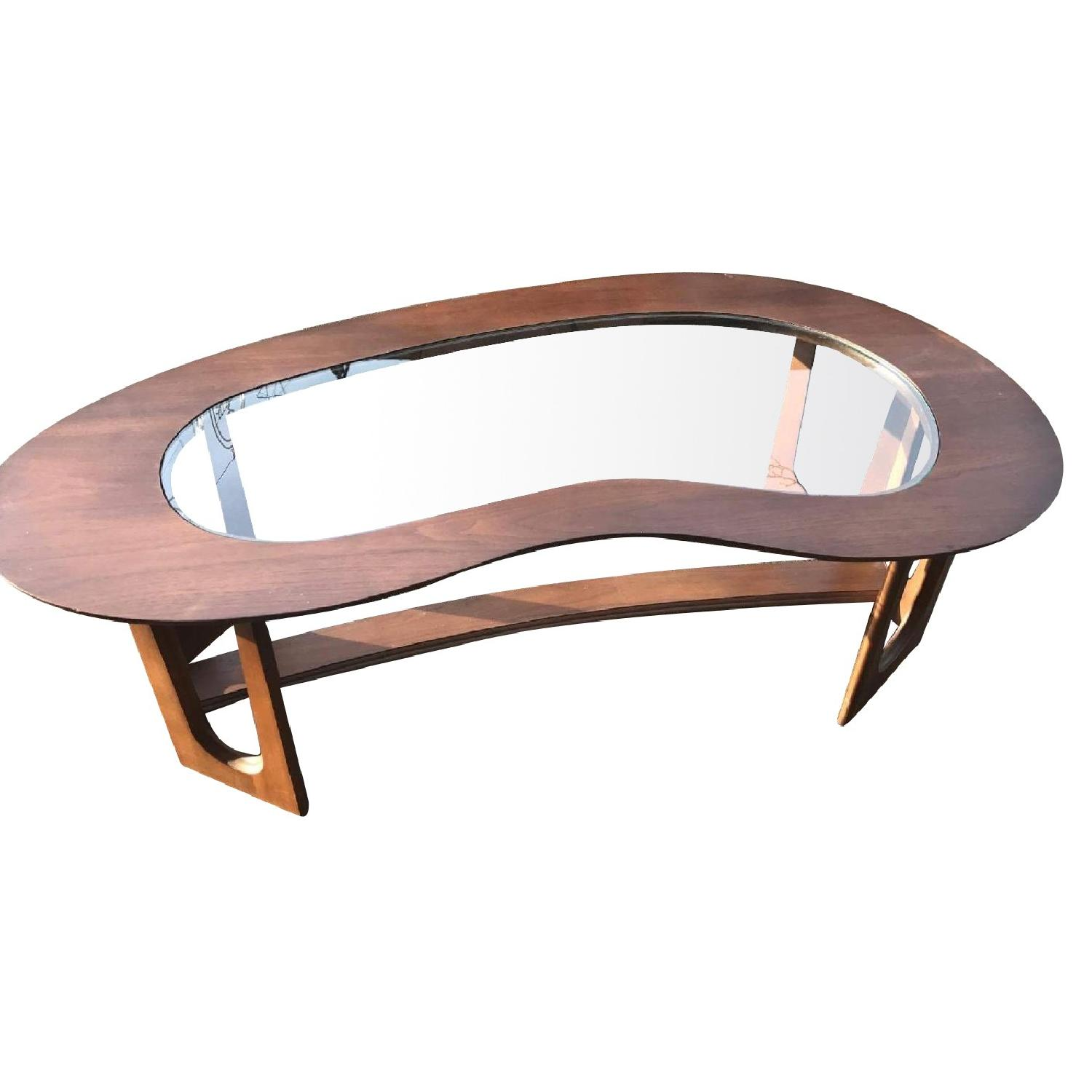 1960s Kidney Shaped Coffee Table w/ Center Glass Top