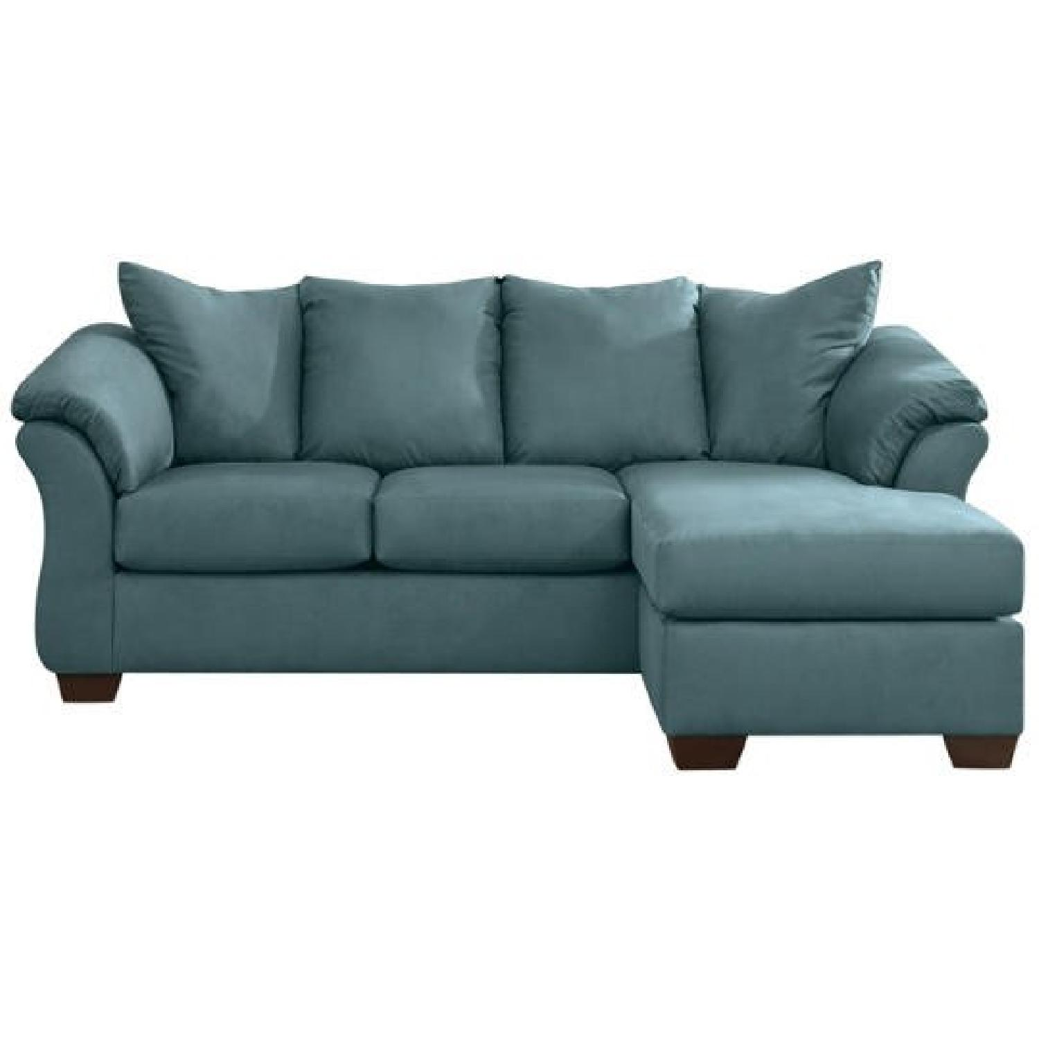 Ashley s Sectional Sofa w Chaise in Sky Blue AptDeco