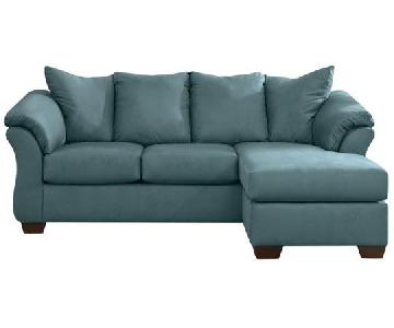 Ashley's Sectional Sofa w/ Chaise in Sky Blue