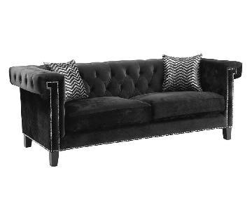 Modern Sofa w/ Greek Key Nailhead Trim Design Tufted Back &