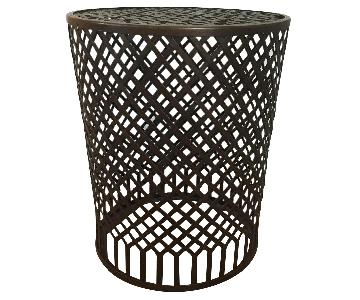 Crate & Barrel Copper Metal Accent Table