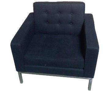 Mid Century Style Modern Accent Chair w/ Tufted Back & Seat Cushion in Black Wool Fabric