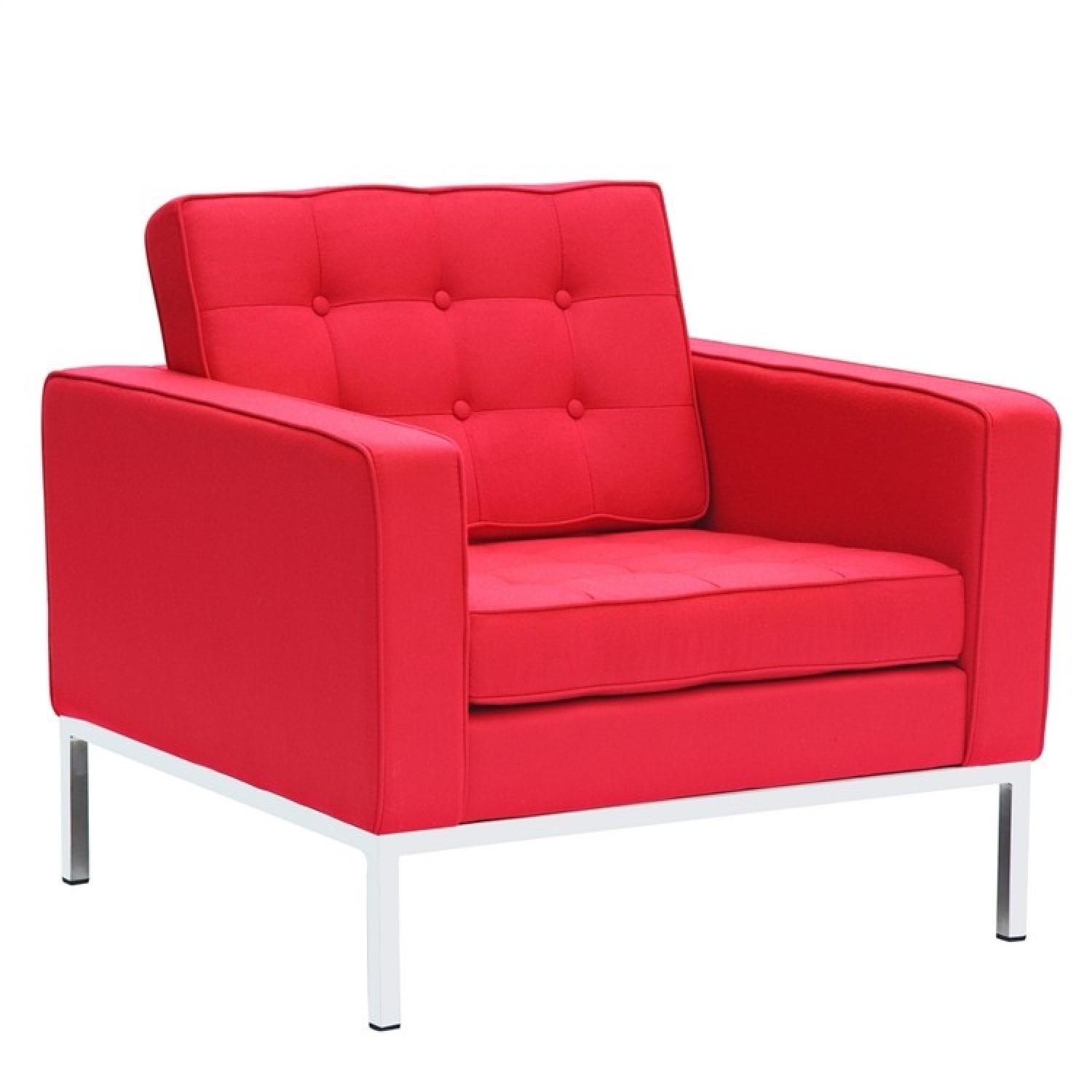 Mid Century Style Modern Accent Chair w/ Tufted Back & Seat Cushion in Red Wool Fabric