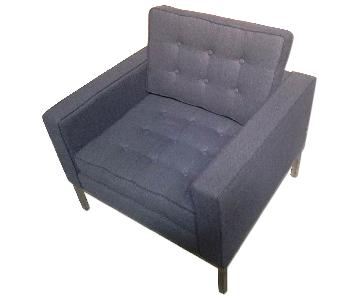 Mid Century Style Modern Accent Chair w/ Tufted Back & Seat
